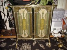 SUPERB ANTIQUE FIRE SCREEN BRASS WITH LEADED GLASS EMBROIDERED GLITTER THREADS